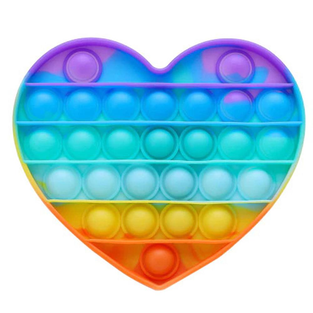 разноцветная антистресс пупырка в форме сердца